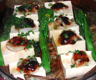 豆腐と貝柱蒸し