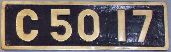 C50 17 ナンバープレート