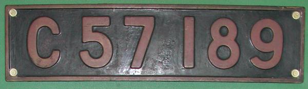 C57 189  ナンバープレート