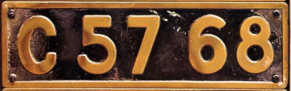 C57 68  ナンバープレート