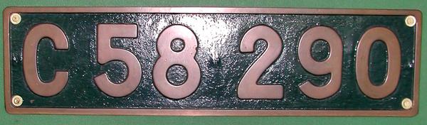 C58 290 ナンバープレート