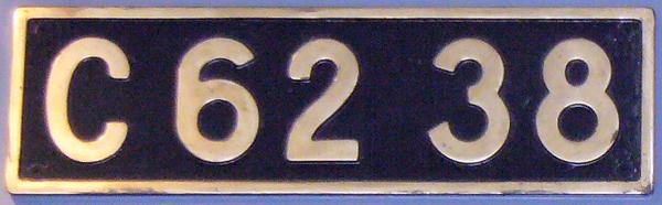 C62 38 ナンバープレート
